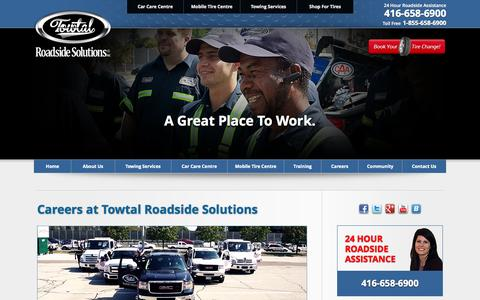 Screenshot of Jobs Page towtal.ca - Careers - Join Our Team - Towtal Roadside Solutions - captured Oct. 1, 2014