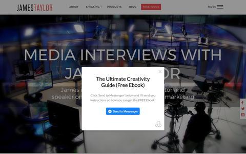 Screenshot of Press Page jamestaylor.me - Media Interviews - James Taylor - captured July 7, 2017