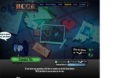 Screenshot of Contact Page buck-game.com - Buck's Official Website - captured Nov. 29, 2016