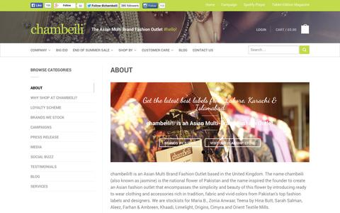 Screenshot of About Page chambeili.com - About - chambeili® - captured Sept. 30, 2014
