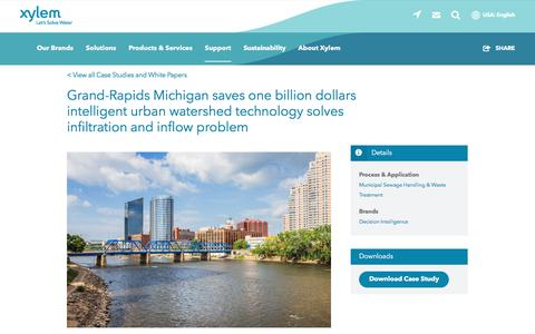 Screenshot of Case Studies Page xylem.com - Grand-Rapids Michigan saves one billion dollars intelligent urban watershed technology solves infiltration and inflow problem   Xylem US - captured Nov. 9, 2019