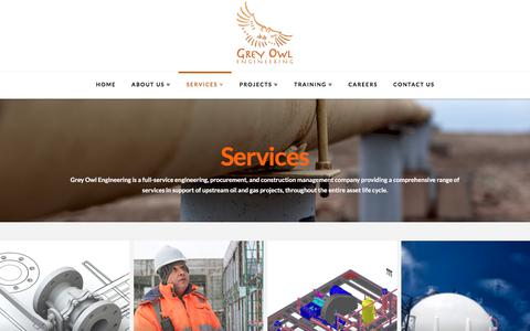 Screenshot of Services Page greyowleng.com - Services - Grey Owl Engineering - captured Sept. 23, 2017