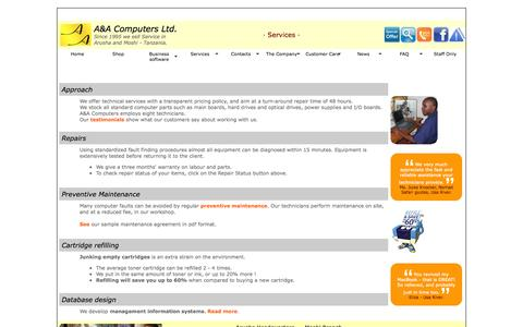 Screenshot of Services Page aacomputers.co.tz - A&A Computers Ltd. | Services - captured Oct. 3, 2014