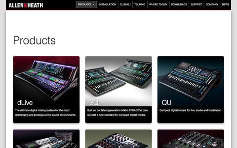 Screenshot of Products Page allen-heath.com - Products - Allen & Heath - captured April 24, 2018