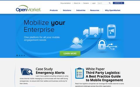 Screenshot of Home Page openmarket.com - Mobile Engagement for the Enterprise | OpenMarket - captured Sept. 19, 2014