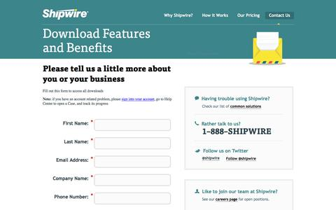 Screenshot of Landing Page shipwire.com - Contact Shipwire order fulfillment team - captured March 8, 2016