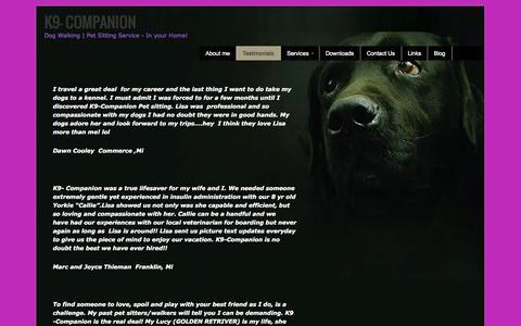 Screenshot of Testimonials Page k9-companion.com - k9-companion.com:testimonials | K9- Companion - captured Oct. 6, 2014