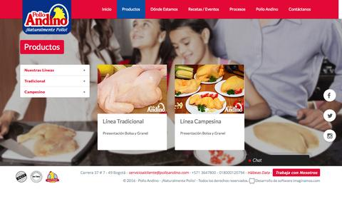 Screenshot of Products Page polloandino.com - Products | Pollo Andino - captured June 4, 2016