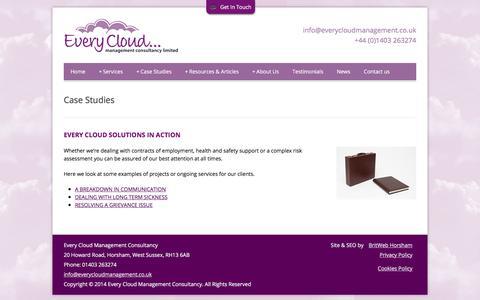 Screenshot of Case Studies Page everycloudmanagement.co.uk - Case Studies | Every Cloud Management - captured Sept. 2, 2017