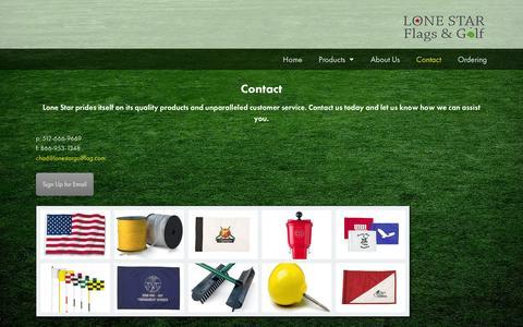 Screenshot of Contact Page lonestargolfflag.com - Contact - Lone Star Flags & Golf - captured Oct. 3, 2014