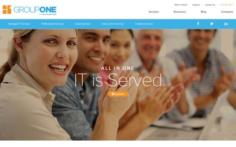 Screenshot of Services Page grouponeit.com - IT Services - GroupOne Consulting Inc. - captured Nov. 2, 2014