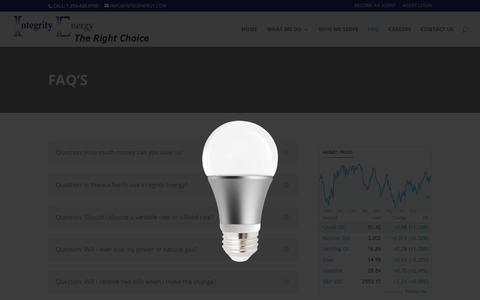 Screenshot of FAQ Page integenergy.com - Faq's | Integrity Energy - captured Oct. 15, 2017