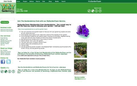 Screenshot of Signup Page gardenadvice.co.uk - GardenAdvice gardening - MyGardenTeam service - captured Jan. 25, 2016