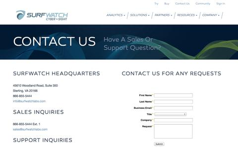 Screenshot of Contact Page surfwatchlabs.com - Need Cutting Edge Cyberintelligence For Your Business? Contact Us Today. - captured Nov. 5, 2014
