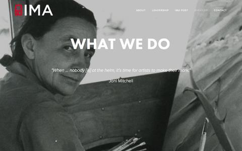 Screenshot of Services Page ima314.com - WHAT WE DO — IMA - captured Feb. 11, 2016