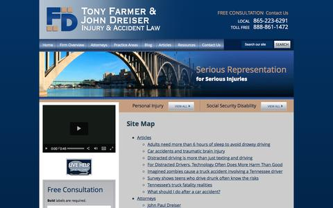 Screenshot of Site Map Page farmerdreiser.com - Site Map | The Law Offices of Tony Farmer & John Dreiser | Knoxville Tennessee - captured Jan. 8, 2016