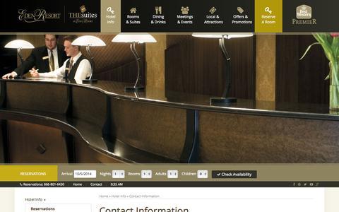 Screenshot of Contact Page edenresort.com - The Eden Resort & Suites: Contact Information for Our Full-Service Lancaster Resort - captured Oct. 5, 2014