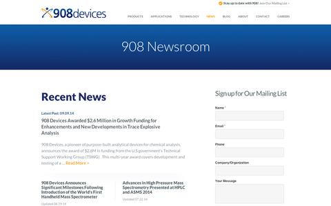 Screenshot of Press Page 908devices.com - Mass Spectrometer News - 908 Devices - captured Sept. 10, 2014