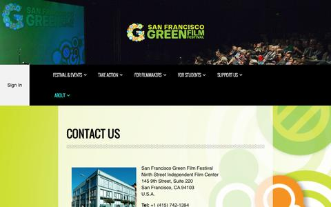 Screenshot of Contact Page sfgreenfilmfest.org - Contact Us - San Francisco Green Film Festival - captured Oct. 4, 2014
