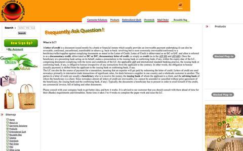 Screenshot of FAQ Page globalcnf.com - Garments Manufacturer: Global Clothing and Fabrics, Inc. - captured Nov. 2, 2014