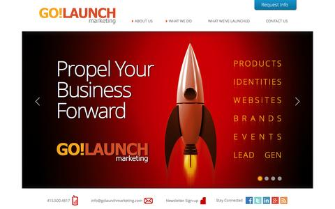 Screenshot of Home Page golaunchmarketing.com - Go!Launch Marketing - Propel Your Business Forward - captured Sept. 30, 2014