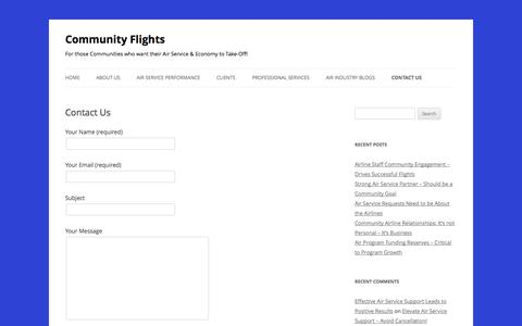 Screenshot of Contact Page communityflights.com - Contact Us - Community Flights - captured Sept. 30, 2014