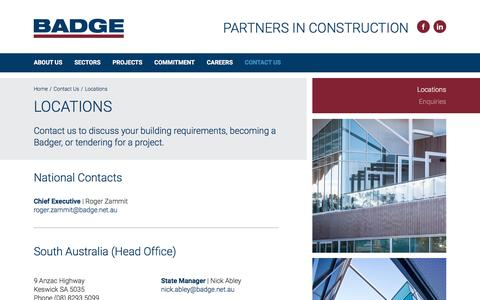 Screenshot of Contact Page Locations Page badge.net.au - Contact Us | Locations | BADGE – Your Partners in Construction - captured Sept. 28, 2016