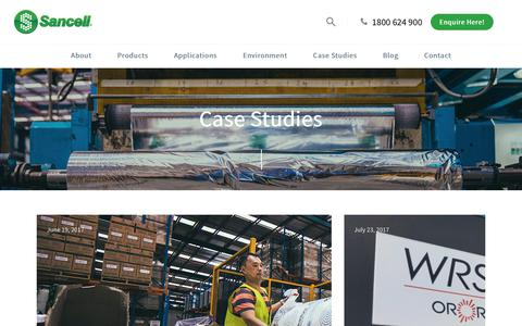 Screenshot of Case Studies Page sancell.com.au - Case Studies - Sancell Protective Packaging Solutions - captured Sept. 29, 2017