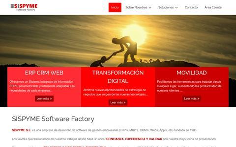 Screenshot of Home Page sispyme.com - SISPYME Software Factory - Sispyme - captured July 27, 2018