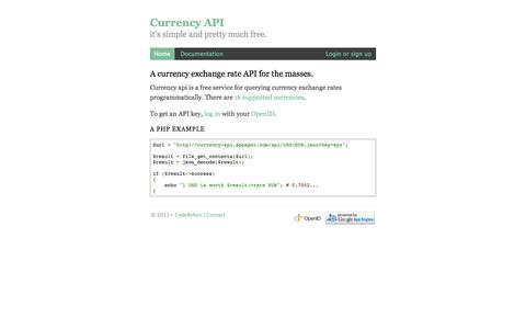 Screenshot of Home Page currency-api.appspot.com - Currency API | Exchange rate and currency conversion API - captured Sept. 19, 2014