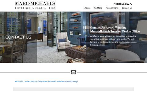 Screenshot of Contact Page marc-michaels.com - Contact An Award-Winning Marc-Michaels Interior Design Office - captured Nov. 14, 2019