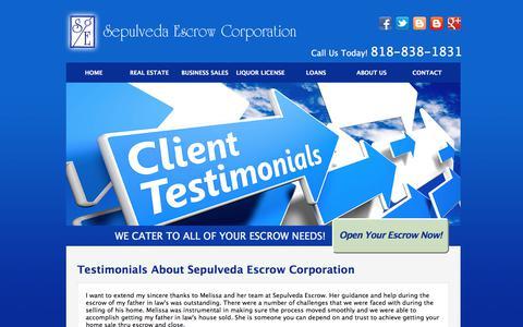 Screenshot of Testimonials Page sepulvedaescrow.net - Client Testimonials | Sepulveda Escrow Corporation | 818-838-1831 - captured Oct. 19, 2017