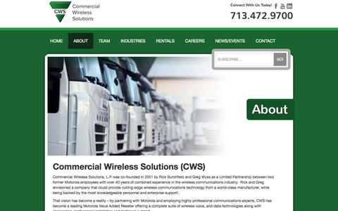 Screenshot of About Page wirelesstx.com - Commercial Wireless Solutions | About - captured Oct. 3, 2014