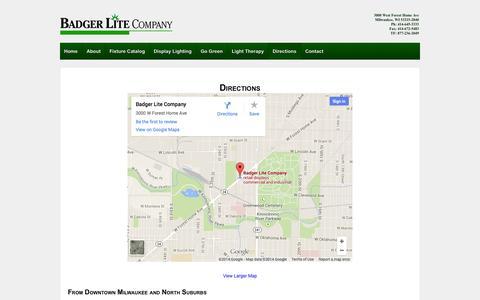 Screenshot of Maps & Directions Page badgerlite.com - Directions | Badger Lite Company - captured Oct. 5, 2014