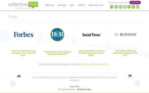 Screenshot of Press Page collectivebias.com - Press > Collective Bias - Shopper Social Media - captured Sept. 10, 2014