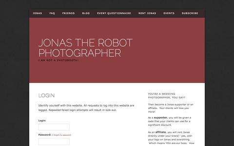 Screenshot of Login Page jonasphotobot.com - Jonas the Robot Photographer - Login - captured Oct. 6, 2014