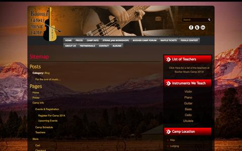 Screenshot of Site Map Page boohercamp.com - Sitemap - :: Booher Music Camp, Oregon :: ::: Booher Music Camp, Oregon :: - captured Oct. 5, 2014