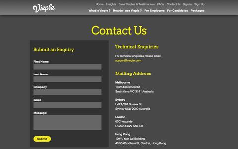 Screenshot of Contact Page vieple.com - Contact Us | Vieple - captured Oct. 26, 2014