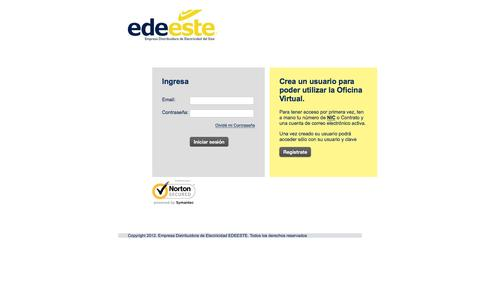 Screenshot of Login Page edeeste.com.do - Login - captured Dec. 7, 2015