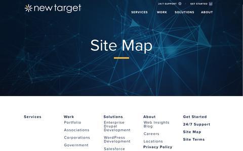 Screenshot of Site Map Page newtarget.com - Site Map | new target, inc | washington dc, los angeles - captured Sept. 20, 2018