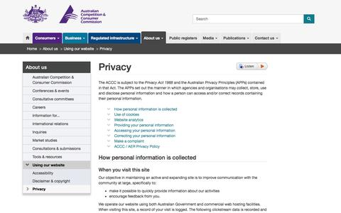 Screenshot of Privacy Page accc.gov.au - Privacy | ACCC - captured May 28, 2017