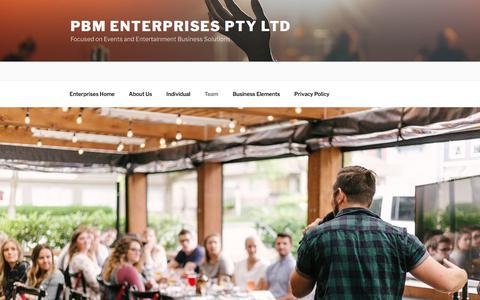 Screenshot of Team Page pbm.net.au - Team – PBM Enterprises Pty Ltd - captured Sept. 25, 2018