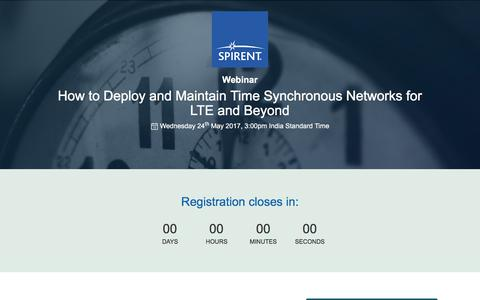 Screenshot of Landing Page spirent.com - Webinar: How to Deploy and Maintain Time Synchronous Networks for LTE and Beyond - captured April 1, 2018