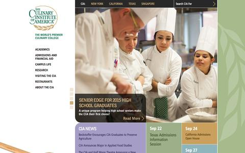 Screenshot of Home Page ciachef.edu - The Culinary Institute of America :: The World's Premier Culinary College - captured Sept. 22, 2014