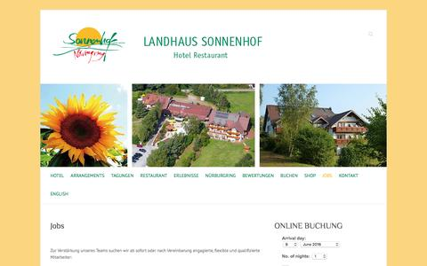 Screenshot of Jobs Page sonnenhof-nuerburgring.de - Jobs | Hotel Restaurant Landhaus Sonnenhof am Nürburgring - captured June 9, 2016