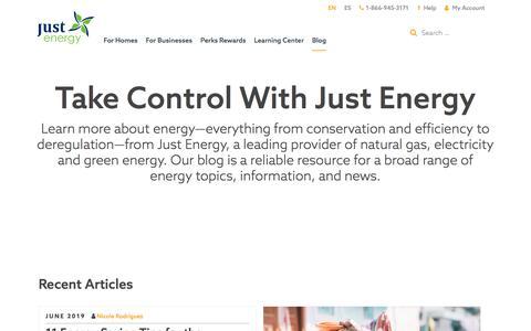 Screenshot of Blog justenergy.com - Just Energy Blog - captured Sept. 17, 2019
