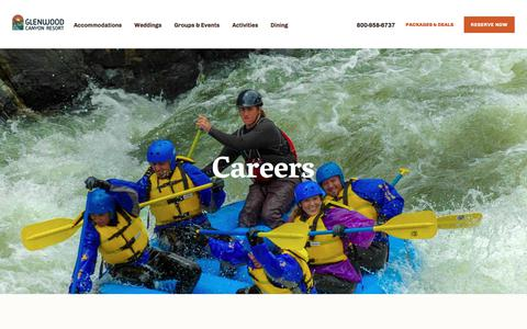 Screenshot of Jobs Page glenwoodcanyonresort.com - Careers - Glenwood Canyon Resort - captured July 19, 2018