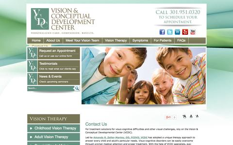 Screenshot of Contact Page visiontherapydc.com - Contact Us - Vision & Conceptual Development Center Chevy Chase, MD - captured Oct. 26, 2014