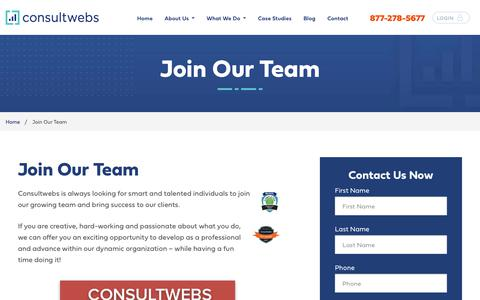 Screenshot of Jobs Page consultwebs.com - Join the Consultwebs Team | Remote SEO & Digital Marketing Jobs - captured Oct. 4, 2019