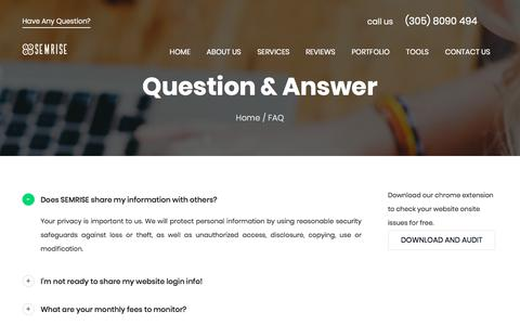Screenshot of FAQ Page semrise.com - Frequently Asked Questions - SEMRISE - captured July 25, 2018
